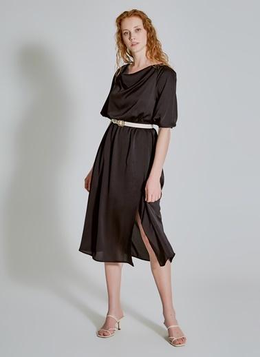People By Fabrika Degaje Yakalı Elbise Siyah